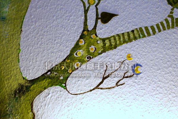 森林草地手绘墙壁画打造温馨儿童房 墙体彩绘