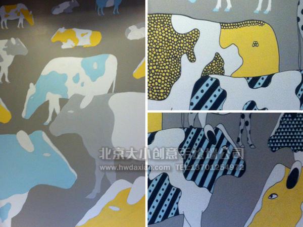 个性餐厅花牛手绘墙壁画 墙体彩绘图片