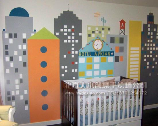 现代风格城市风景儿童房卧室手绘墙壁画 墙体彩绘