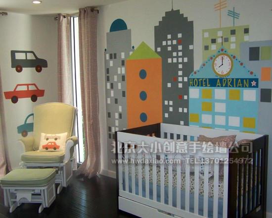现代风格城市风景儿童房卧室手绘墙壁画