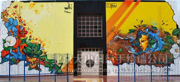 艳丽绝美涂鸦风格大型外墙手绘墙壁画 墙体彩绘图片