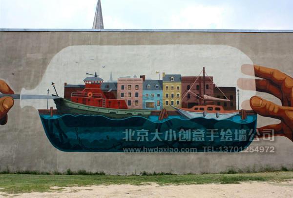 停车场彩绘 商场手绘墙
