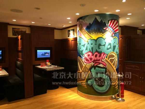 时尚涂鸦柱子餐厅手绘墙壁画 墙体彩绘