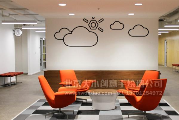 简约符号办公室手绘墙壁画 墙体彩绘