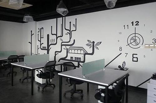 创意墙绘 办公手绘墙 会议室手绘墙