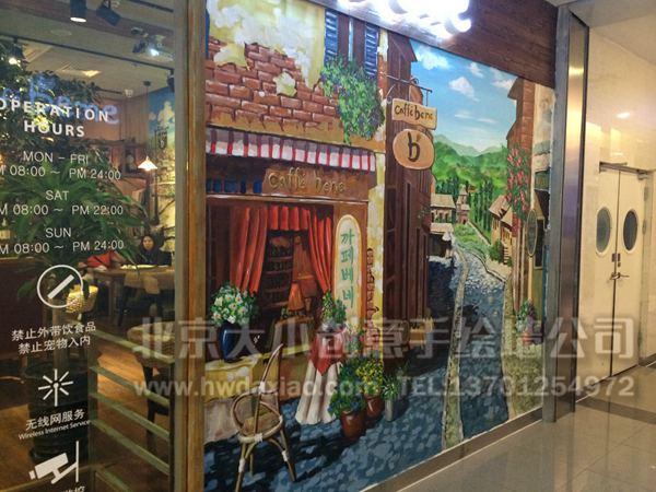 油画风格细致风景咖啡厅手绘墙壁画