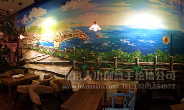 [转载]浪漫海滩咖啡壁画 餐厅手绘墙 墙体彩绘