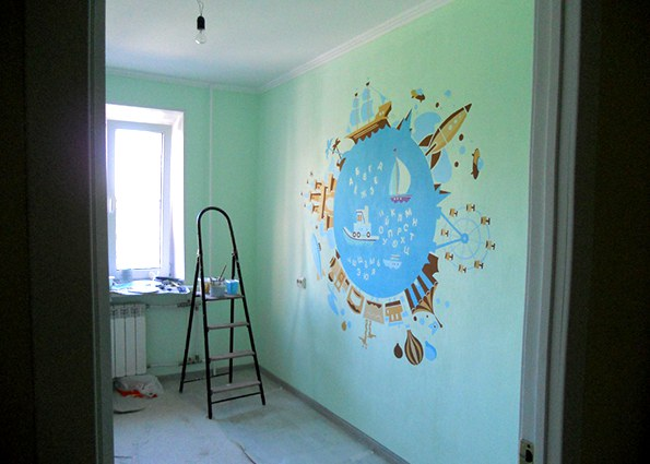 可爱卡通儿童房手绘墙壁画