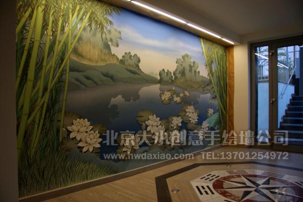 走廊壁画 电视背景墙绘 卧室背景墙绘 客厅手绘墙 墙体彩绘 手绘壁画