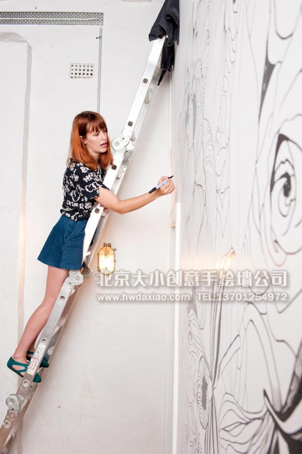 咖啡厅墙绘 店铺手绘墙