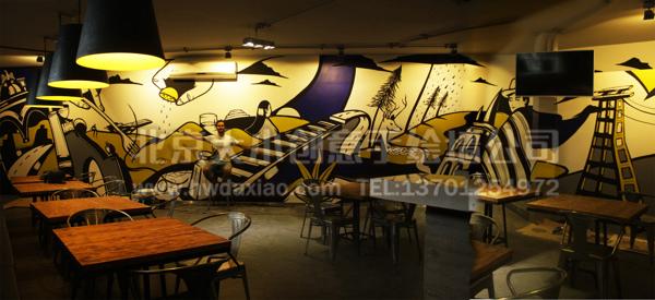 咖啡厅墙绘 店铺手绘墙 办公室手绘墙 创意墙绘 墙体彩绘 手绘壁画