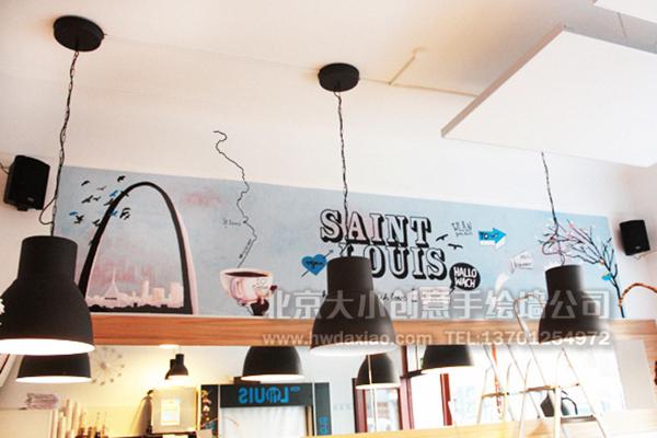 酒吧墙绘 咖啡厅墙绘