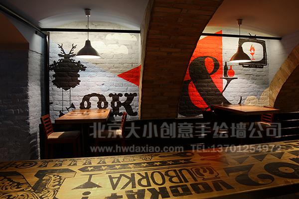 复古物品个性主题餐厅手绘墙壁画 墙体彩绘