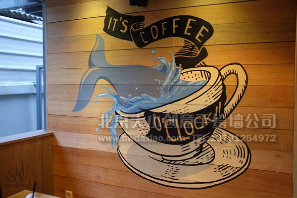 咖啡厅墙绘 清新手绘 店铺手绘墙 办公室手绘墙 风景壁画 创意墙绘