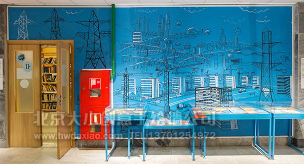 创意墙绘 办公室手绘墙 线条壁画 校园文化墙 走廊壁画 学校手绘墙