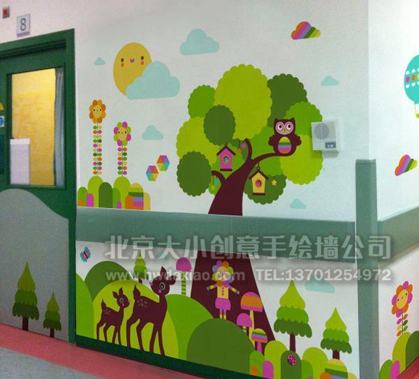 美妙森林--幼儿园走廊卡通手绘墙壁画 墙体彩绘图片