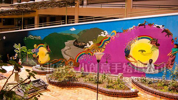 外国民族风情街道外墙手绘墙壁画 墙体彩绘