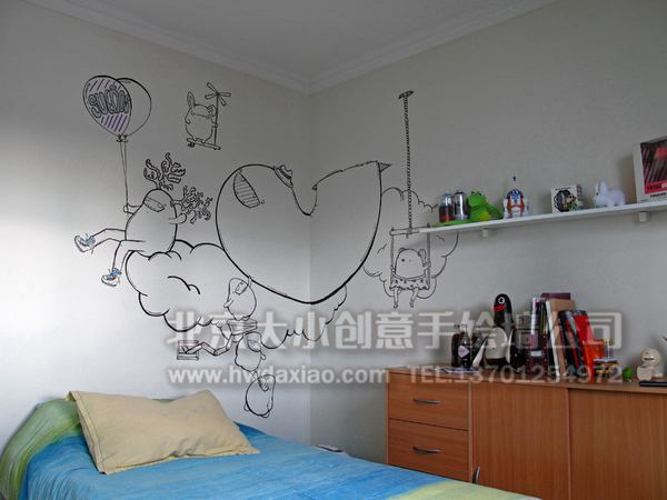 手绘墙 楼梯间墙绘 儿童房壁画 走廊壁画 电视背景墙 ...