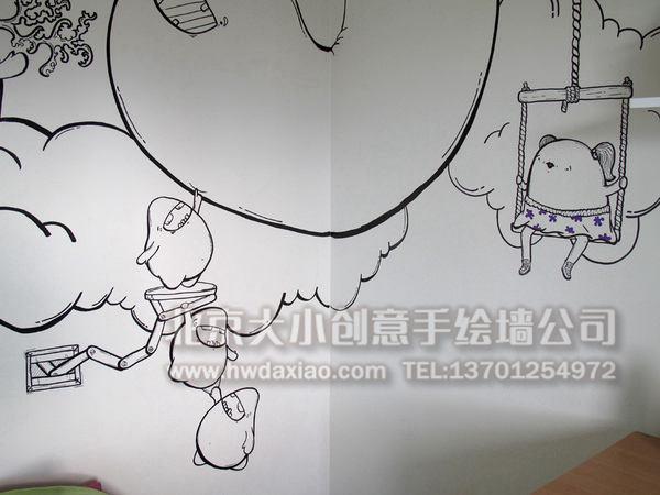 楼梯间墙绘 儿童房壁画 走廊壁画 电视背景墙绘 卧室手绘墙 客厅手绘
