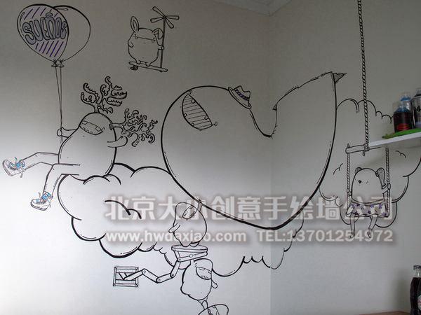 线条简约可爱卡通形象卧室手绘墙壁画
