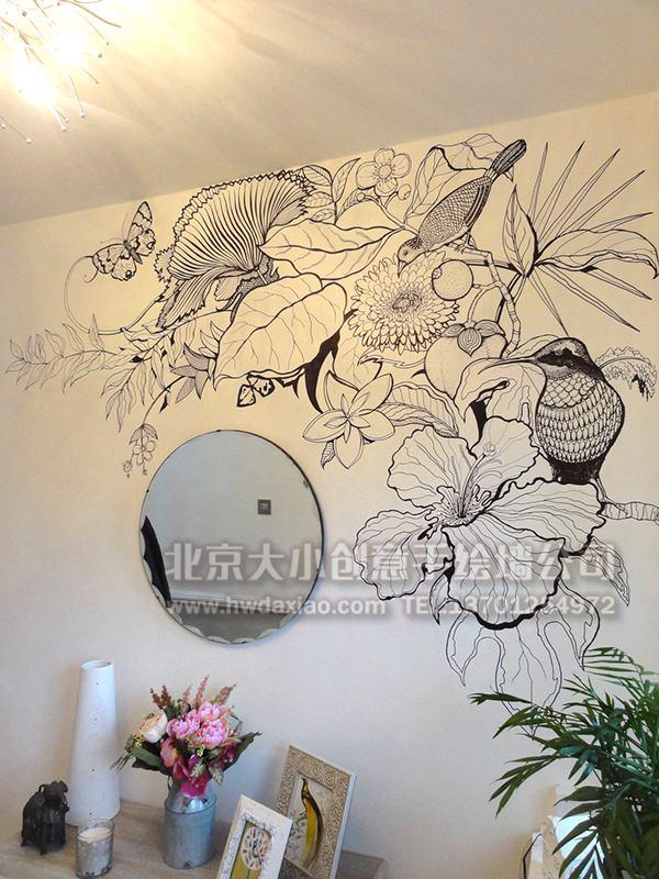 别墅清新典雅白描花鸟手绘墙壁画 墙体彩绘图片
