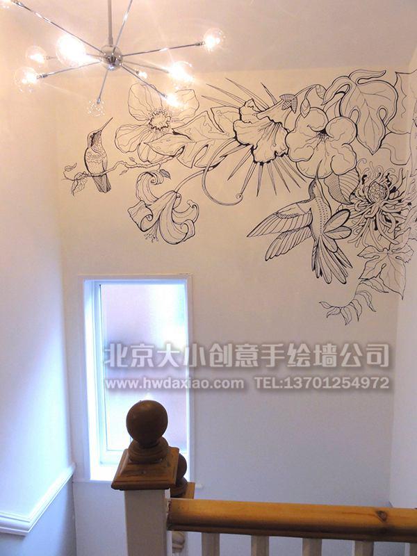 别墅清新典雅白描花鸟手绘墙壁画 墙体彩绘