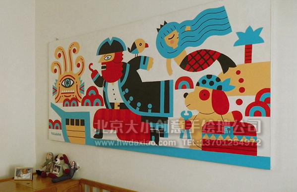 """快乐海盗和他的朋友们手绘墙壁画,装饰了孩子的房间,小朋友们非常的喜欢,墙体彩绘装饰的儿童房、校园、幼儿园或者儿童医院,都会为他们的童年留下一个美好的回忆。 大小手绘,您身边的墙绘壁画专家!更多墙绘、彩绘创意详情请点击>http://www.hwdaxiao.com [[img ALT=""""创意墙绘 婴儿房彩绘 儿童房手绘墙 卡通墙绘 幼儿园墙面彩绘 早教中心手绘墙 卡通彩绘 餐厅手绘墙 儿童乐园壁画 北京墙绘公司 手绘墙 墙体彩绘 墙绘价格 手绘壁画 儿童医院壁画"""" src=""""http://si"""