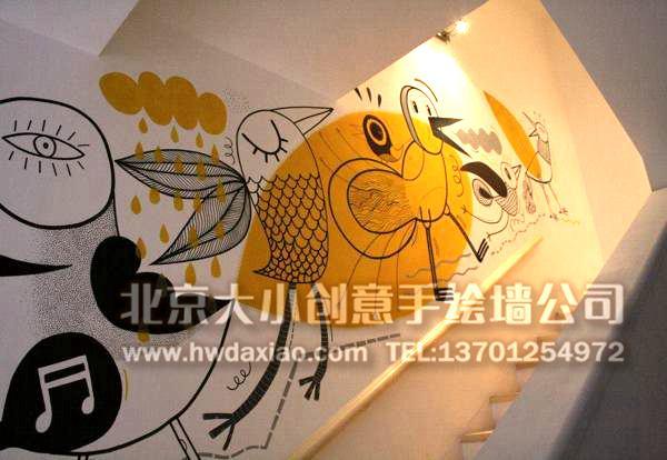 俏皮逗趣卡通走廊手绘墙壁画 墙体彩绘图片