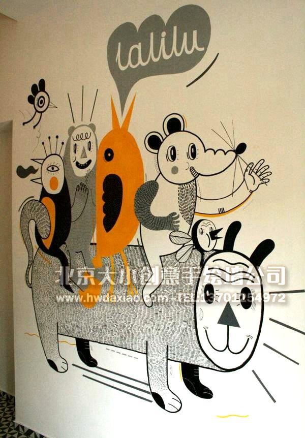俏皮逗趣卡通走廊手绘墙壁画