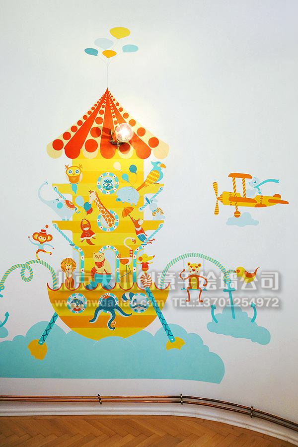 幼儿园墙面彩绘 早教中心手绘墙 卡通彩绘 餐厅手绘墙 儿童乐园壁画