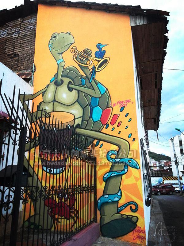 大型户外卡通乌龟与音乐外墙手绘墙壁画 墙体彩绘图片
