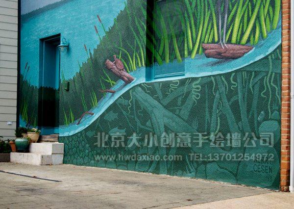 """白鹤、小溪、原始森林,组成了一幅具有生态环保意义的手绘墙壁画,这种户外墙体彩绘在装饰的同时,也起到了公益宣传的作用,真是一举两得。 大小手绘,您身边的墙绘壁画专家!更多墙绘、彩绘创意详情请点击>http://www.hwdaxiao.com [[img ALT=""""创意墙绘 办公室手绘墙 外墙彩绘 街道壁画 校园文化墙 走廊壁画 店铺彩绘 餐厅手绘墙 商场手绘墙 卡通彩绘 手绘墙素材 北京墙绘公司 手绘墙 墙体彩绘 墙绘价格 手绘壁画"""" src=""""http://simg."""