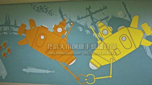 儿童医院走廊卡通迷宫墙体彩绘