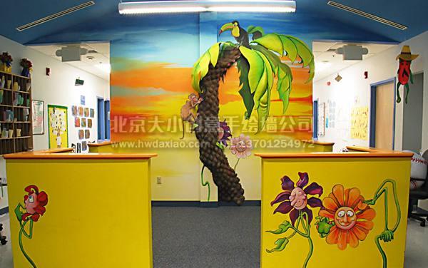 儿童教育中心可爱卡通童墙体彩绘
