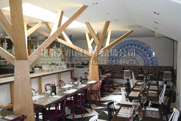 青花色欧式半圆形餐厅背景手绘墙