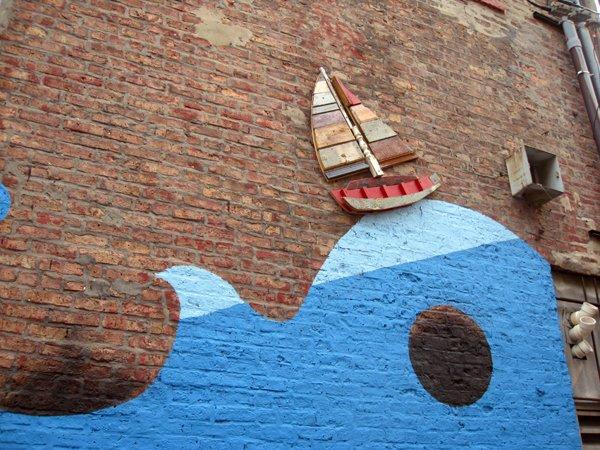 一帆风顺外墙手绘墙体彩绘