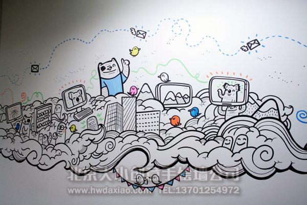 墙上布满了俏皮可爱的卡通人物手绘墙,这样的办公室墙绘可以让枯燥的