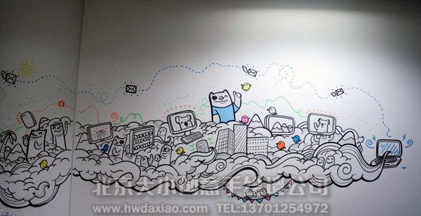 墙上布满了俏皮可爱的卡通人物手绘墙