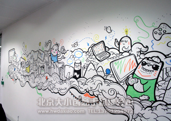 卡通墙绘 办公室墙绘 企业文化墙 创意墙绘 北京墙绘公司 手绘墙 墙绘