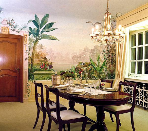 精致花鸟欧式餐厅手绘墙壁画