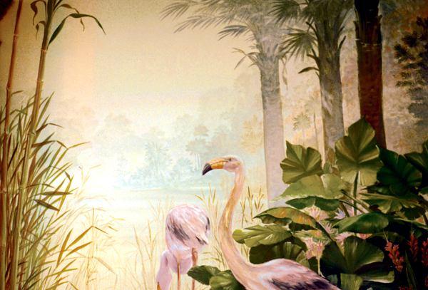 精致花鸟欧式餐厅手绘墙壁画 墙体彩绘