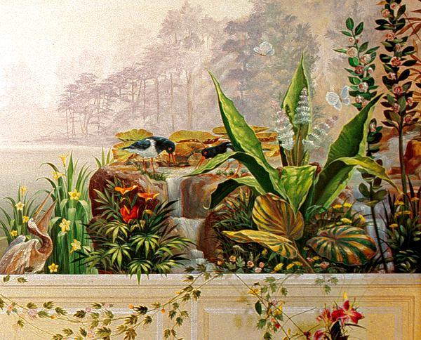 精致花鸟欧式餐厅手绘墙壁画 墙体彩绘图片