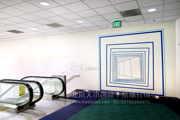 独特的立体几何空间扶梯手绘墙壁画 墙体彩绘