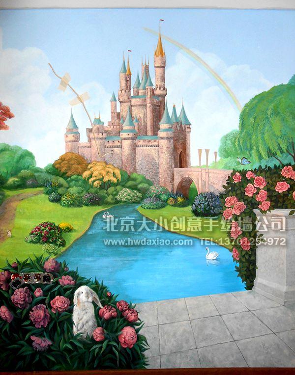 小公主的梦幻城堡——儿童房手绘墙壁画