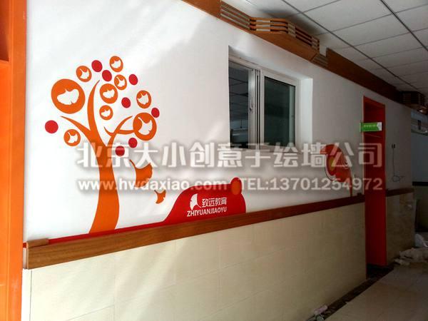 四季风景之校园走廊装饰手绘墙壁画 墙体彩绘