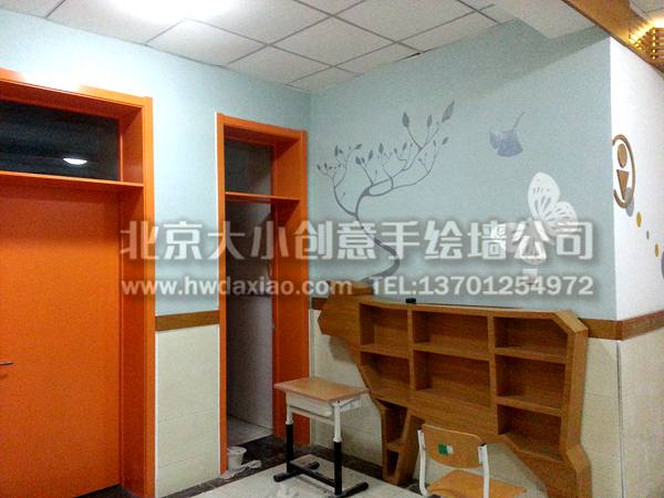 四季風景之校園走廊裝飾手繪墻壁畫