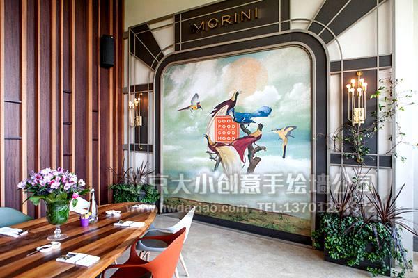 精致欧式飞鸟主题餐厅手绘墙壁画