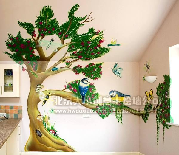 鸟鸣自然风情阁楼手绘墙壁画 墙体彩绘图片