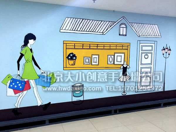 好德火锅_凯德mall购物中心停车场走廊温馨卡通手绘墙壁画 墙体彩绘-大小 ...