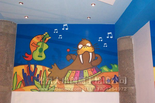 创意墙绘 儿童房手绘墙 卡通墙绘 幼儿园墙面彩绘 早教中心手绘墙